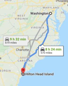 DC to Hilton Head Island South Carolina